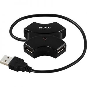 Deltaco 4 Port Mini Hub USB 2.0